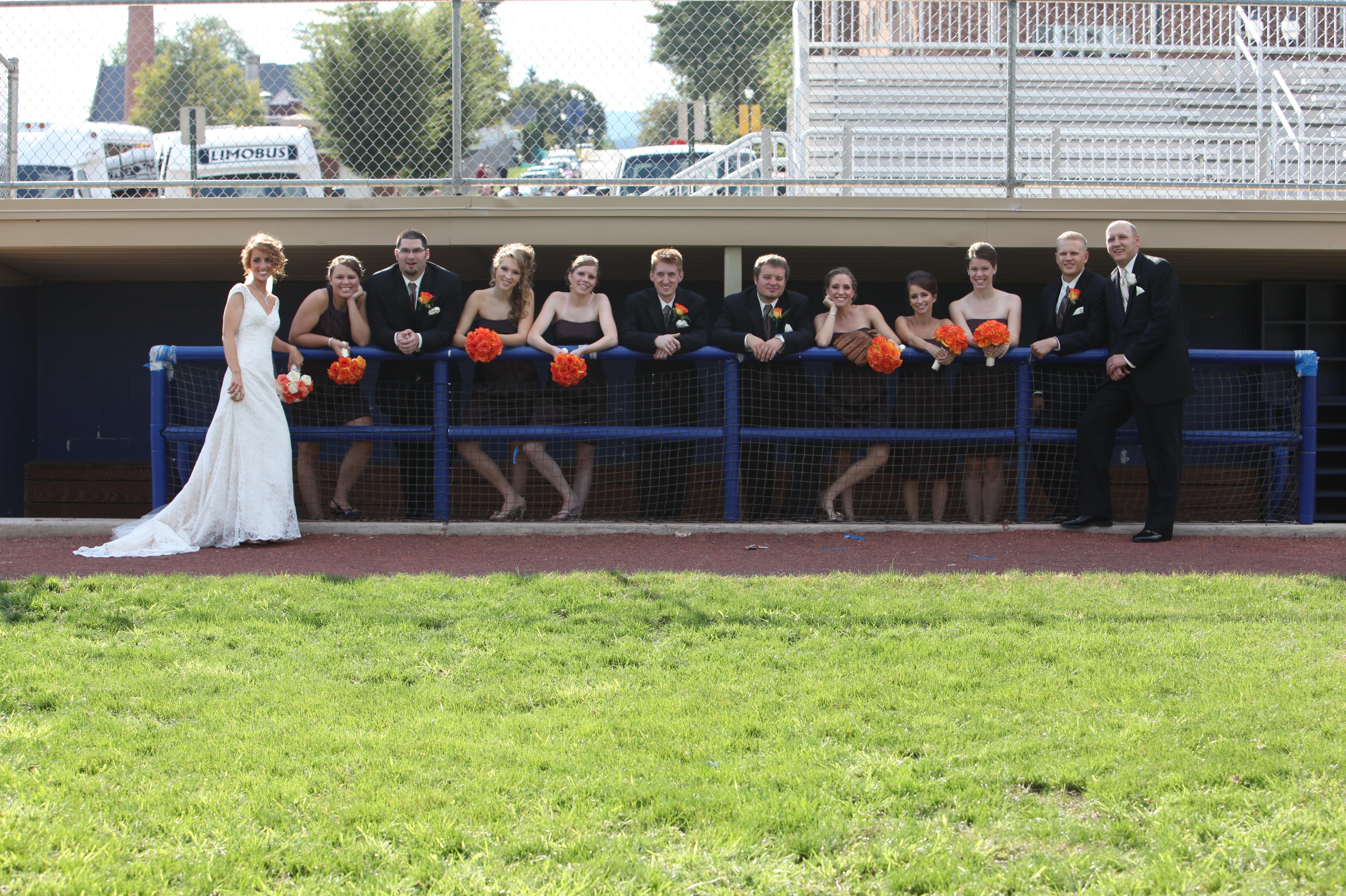 Backlit Bridal Party In Baseball Dugout Ruth E Hendricks Photography